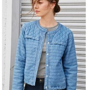 Forever 21 Denim Quilted Boxy Jacket